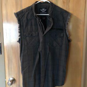 Harley-Davidson Gray Button Down Shirt Sz L